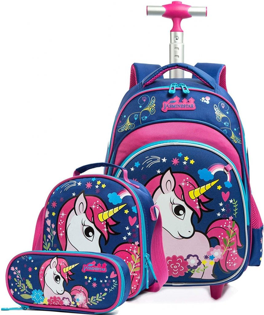 Unicornio Mochila Escolar con Ruedas,Mochilas Escolares Trolley Niña