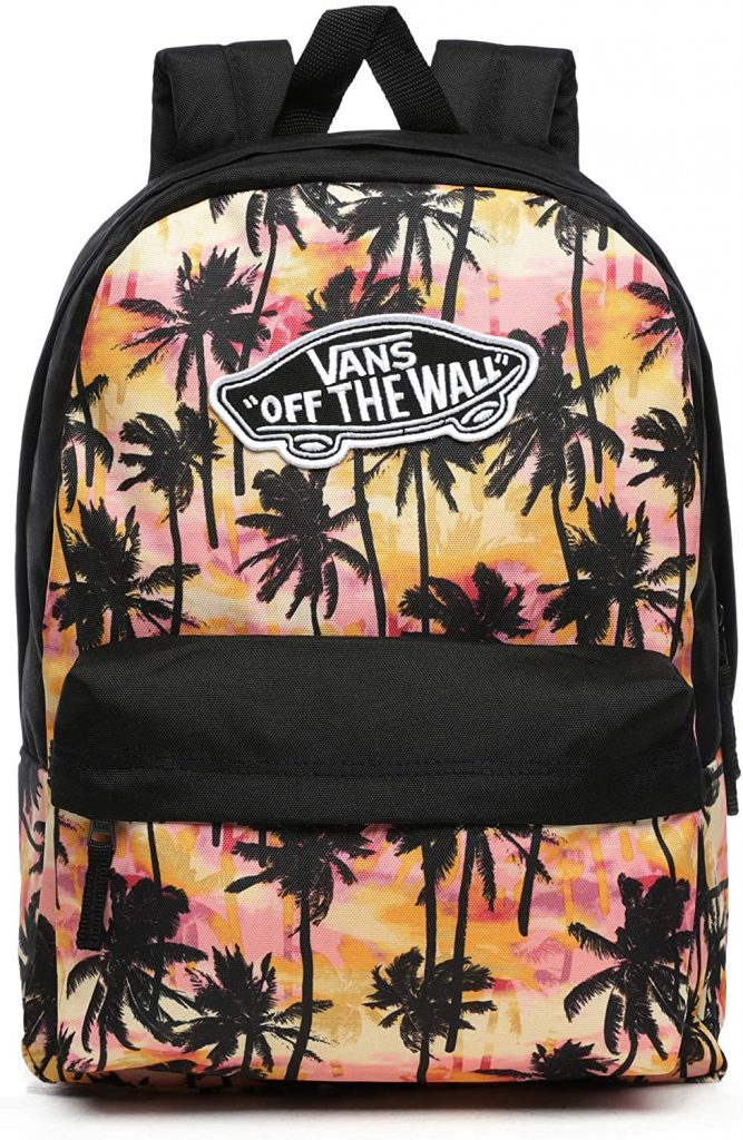 Vans Ss20 Realm BackPACK, OS Negro mochila, Mochila real, VN0A3UI6NID1, Palmas atardecer