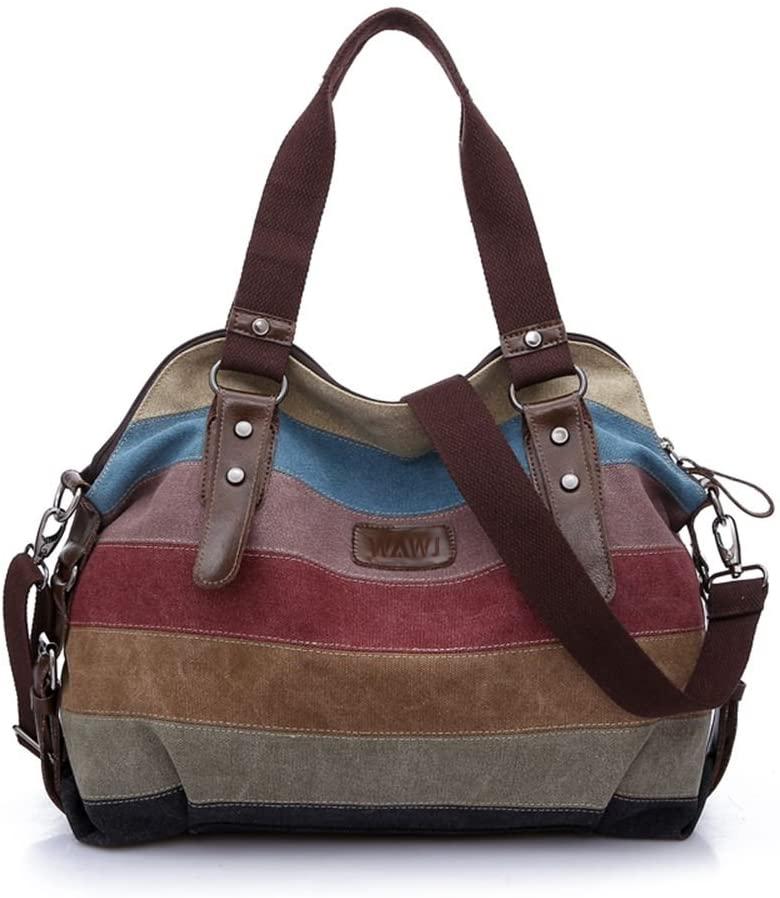 WAWJ Multicolor rayas la lona de los totalizadores del bolso de las mujeres
